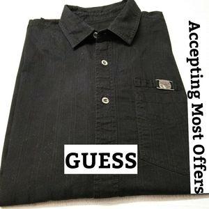 Guess Black Shirt, logo plate & buttons. Sz MM